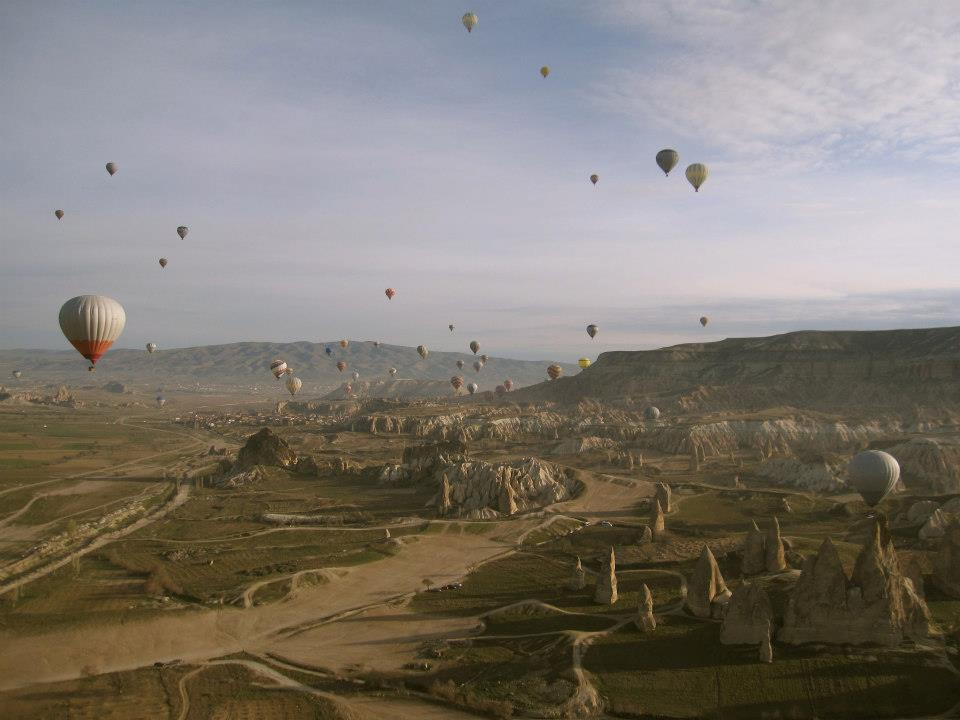 Taken at 6:30am flying in a hot air balloon over Goreme, Turkey, in the heart of Cappadocia.