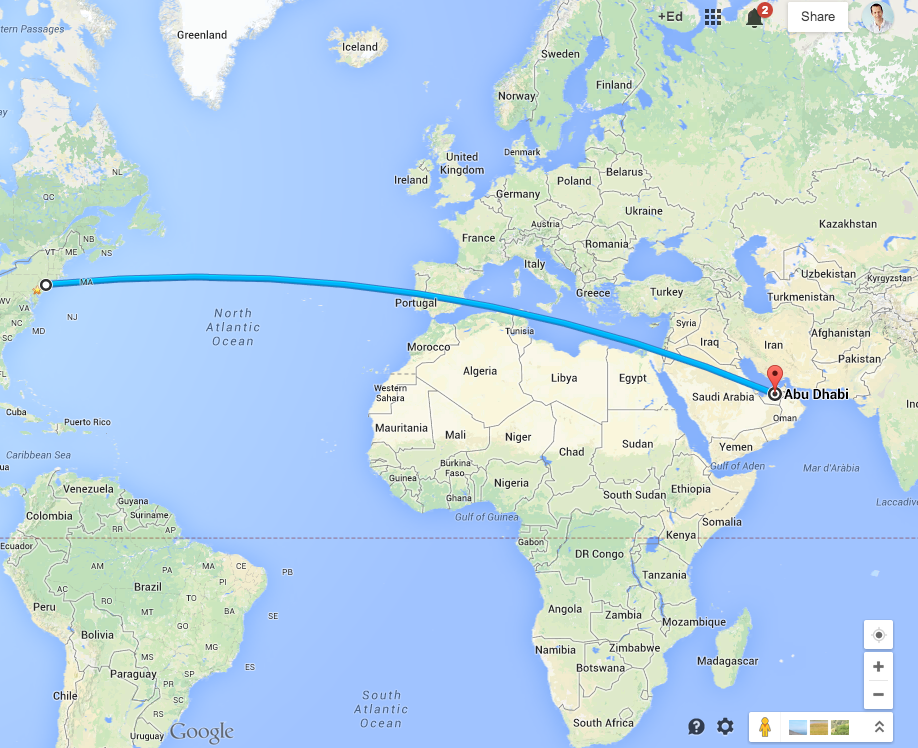 The total distance from NYC to Bangkok is nearly 9,000 miles. Ed's flights stops once in Abu Dhabi.