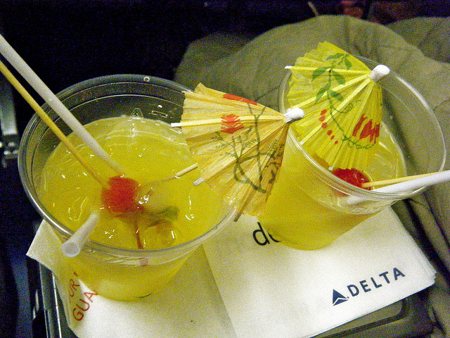 Cocktails aboard a Delta flight