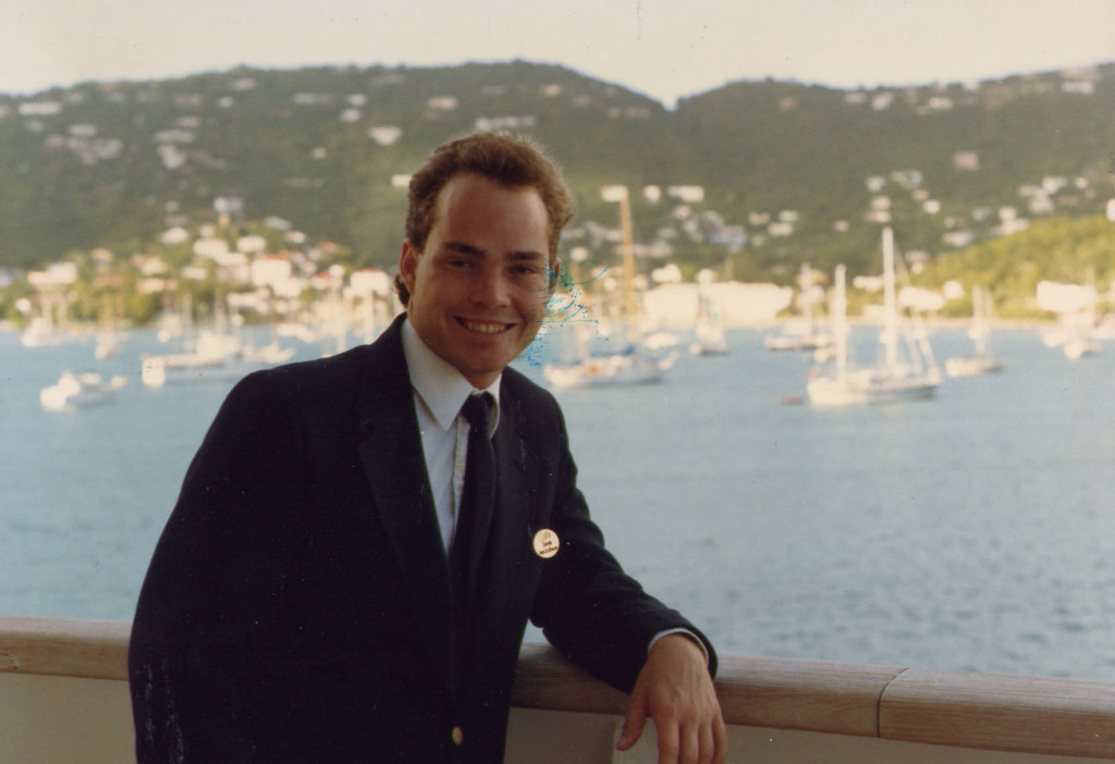 On deck on my first ship, The Royal Princess in St. Thomas, circa 1987