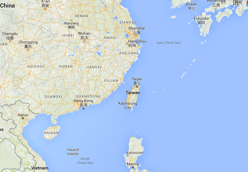 Map showing Taiwan (the island, center) in ManAboutWorld gay travel magazine