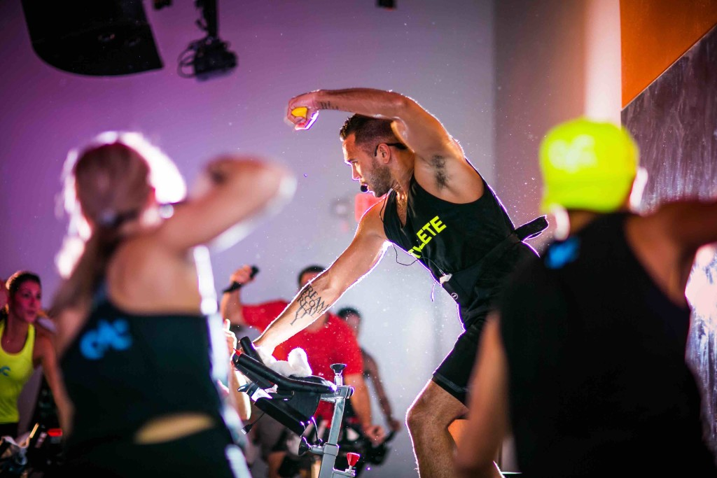 Cyc spin class at the Row Hotel NYC, one of the boutique fitness studios in NYC