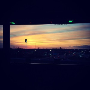 Sunset in Ohio from a Megabus in ManAboutWorld by Paul Heney, Go, Daddy