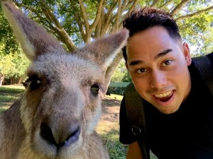 Selfie with Kangaroo-Downunder: Australia and New Zealand by John Walker correspondent for ManAboutWorld gay trabvel magazine