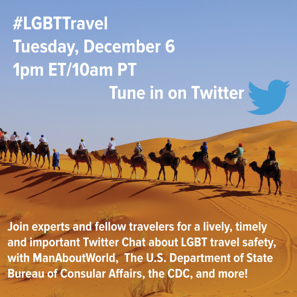 LGBT Travel Safety Twitter Chat Tuesday, Dec 6 at 1pm ET via #LGBTTravel