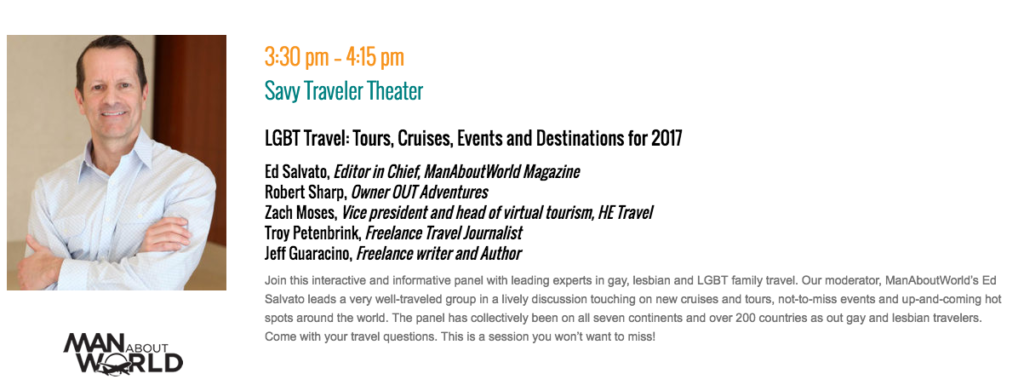 ManAboutWorld at Travel and Adventure in Washington DC Jan 14-15; LGBT travel
