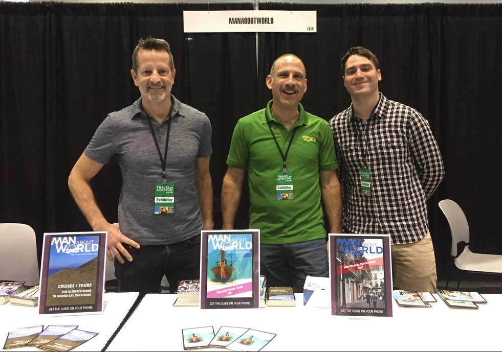 ManAboutWorld at the LGBTQ Travel Pavilion at the Los Angeles Travel & Adventure Show
