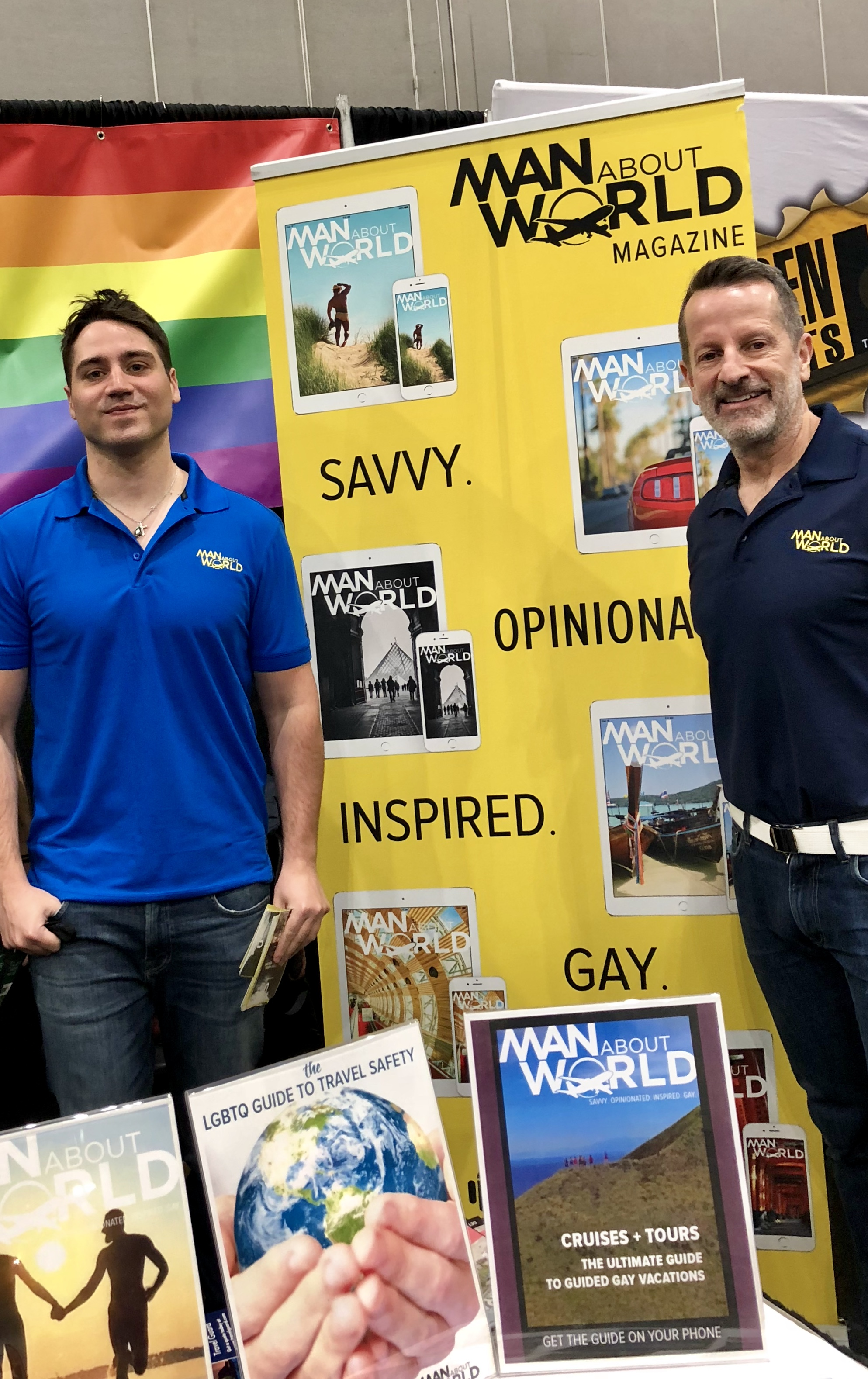 Gay travel experts Ed Salvato and Kenny Porpora at the Travel Show for ManAboutWorld gay travel magazine