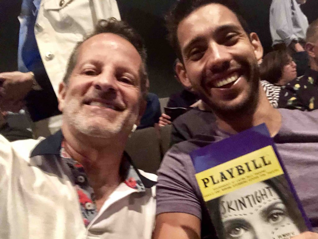 Our very own Ed Salvato and his partner at Skintight at the Roundabout Theater with Idina Menzel in ManAboutWorld gay travel magazine