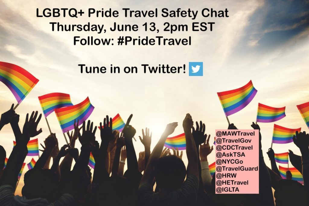 #PrideTravel safety twitter chat June 13, 2pm EST